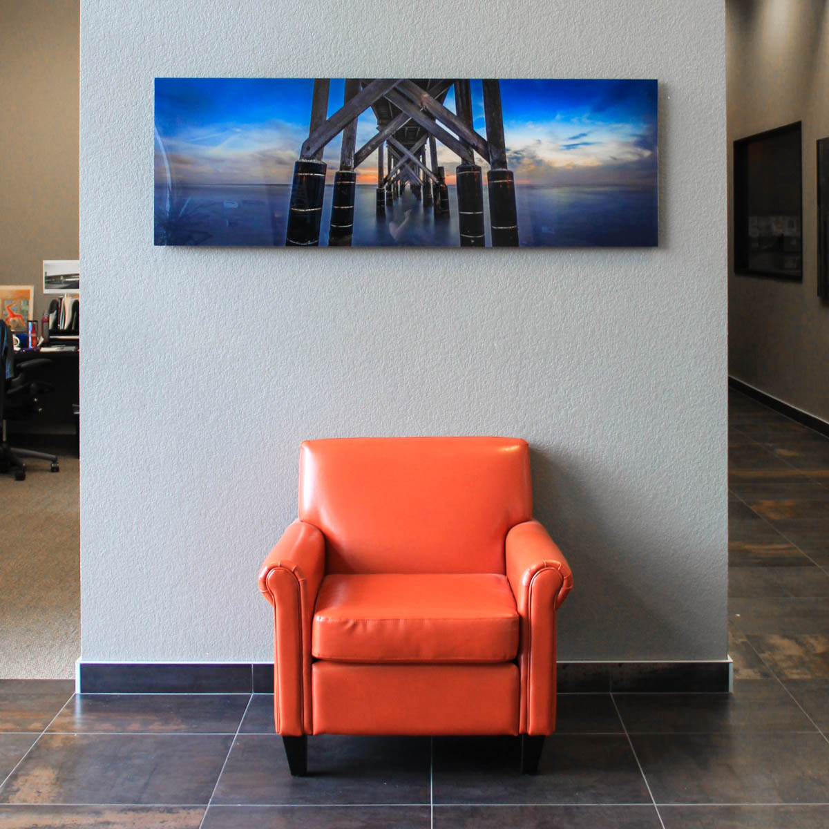 Face Mounted Plexiglass Acrylic Print Over Office Chair